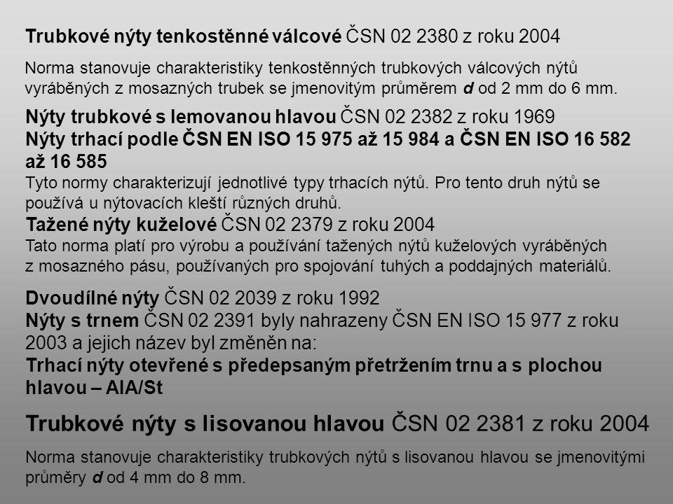 Trubkové nýty tenkostěnné válcové ČSN 02 2380 z roku 2004 Norma stanovuje charakteristiky tenkostěnných trubkových válcových nýtů vyráběných z mosazný