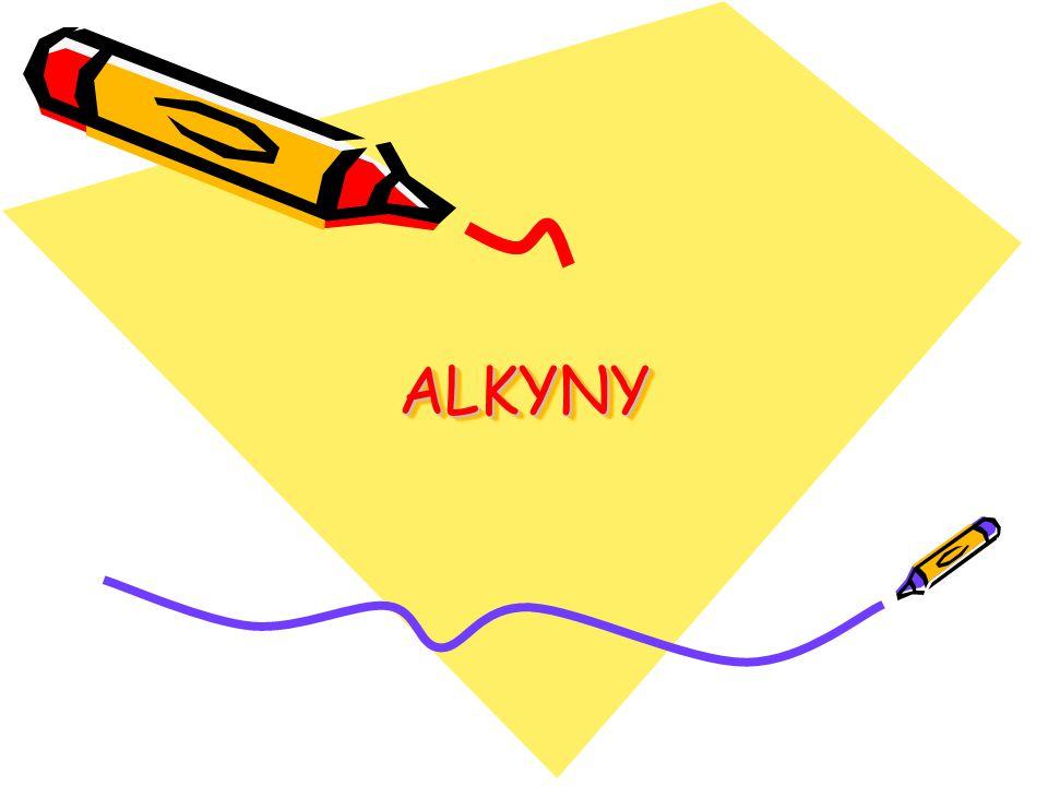 OBECNĚ Alkyny obsahují jednu nebo více trojných vazeb mezi atomy uhlíku, která má v číslování přednost před dvojnou vazbou (C C) V názvosloví se k označení trojné vazby používá koncovka –YN (H-C C-H eth-1-yn)