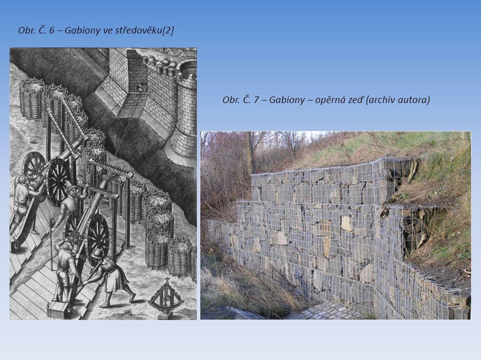 Obr. Č. 6 – Gabiony ve středověku[2] Obr. Č. 7 – Gabiony – opěrná zeď (archiv autora)