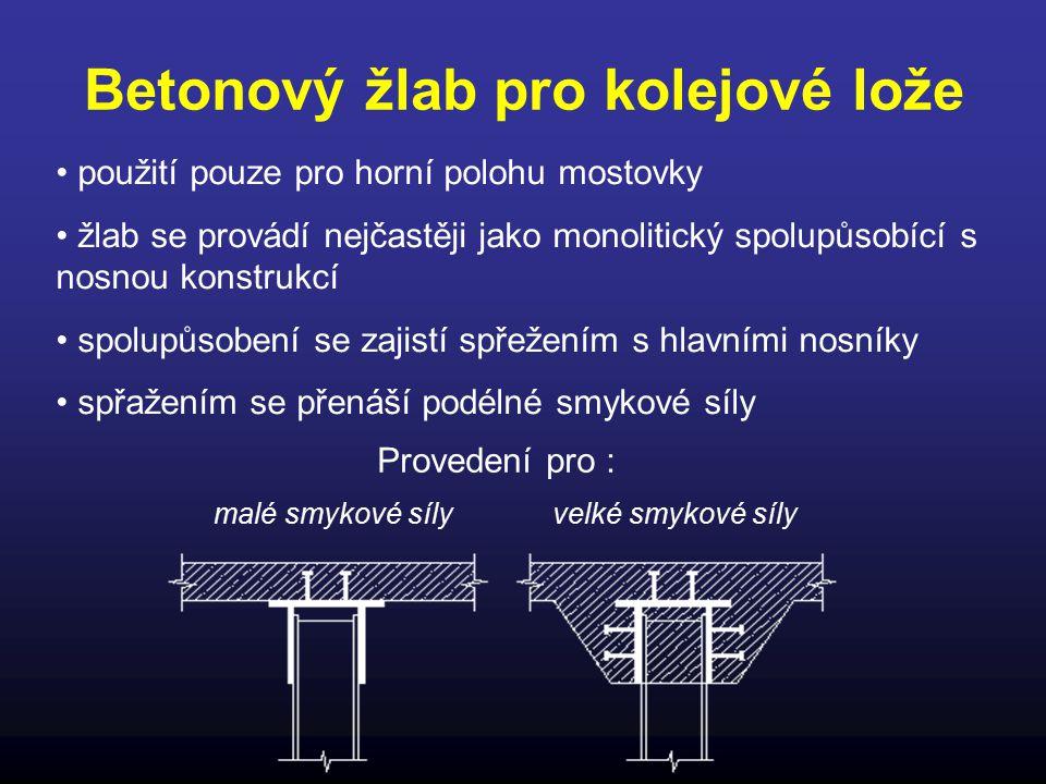Betonový žlab pro kolejové lože použití pouze pro horní polohu mostovky žlab se provádí nejčastěji jako monolitický spolupůsobící s nosnou konstrukcí
