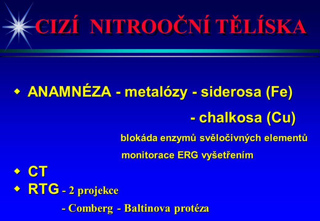 CIZÍ NITROOČNÍ TĚLÍSKA w ANAMNÉZA - metalózy - siderosa (Fe) - chalkosa (Cu) blokáda enzymů svěločivných elementů blokáda enzymů svěločivných elementů