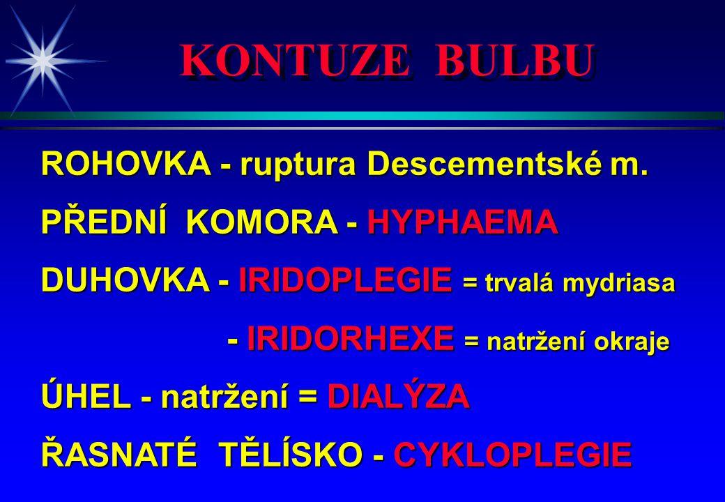 KONTUZE BULBU ROHOVKA - ruptura Descementské m. PŘEDNÍ KOMORA - HYPHAEMA DUHOVKA - IRIDOPLEGIE = trvalá mydriasa - IRIDORHEXE = natržení okraje - IRID