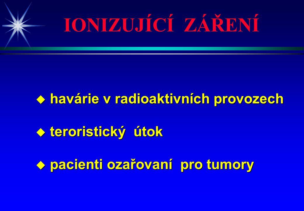 u havárie v radioaktivních provozech u teroristický útok u pacienti ozařovaní pro tumory IONIZUJÍCÍ ZÁŘENÍ