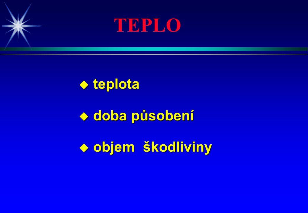 u teplota u doba působení u objem škodliviny TEPLO