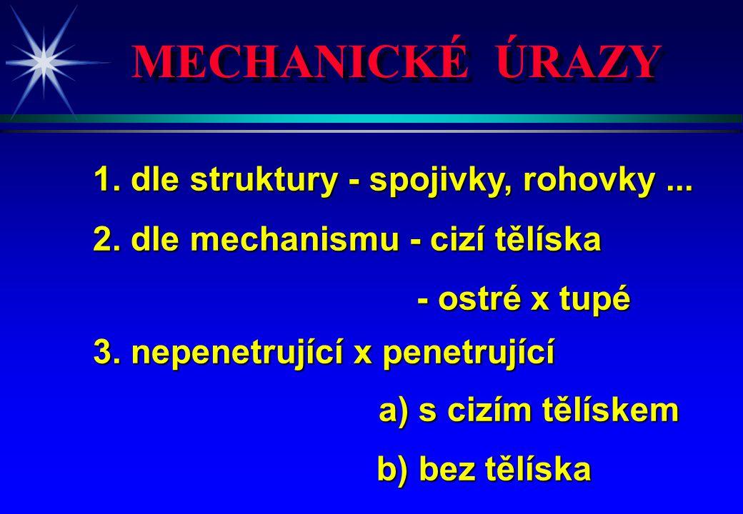 MECHANICKÉ ÚRAZY 1. dle struktury - spojivky, rohovky... 2. dle mechanismu - cizí tělíska - ostré x tupé - ostré x tupé 3. nepenetrující x penetrující