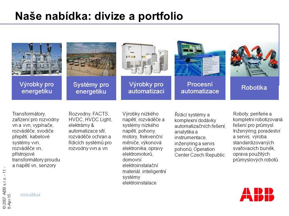 © 2007 ABB s.r.o. - 11 - 8-Apr-15 Naše nabídka: divize a portfolio Roboty, periferie a kompletní robotizovaná řešení pro průmysl. Inženýring, poradest