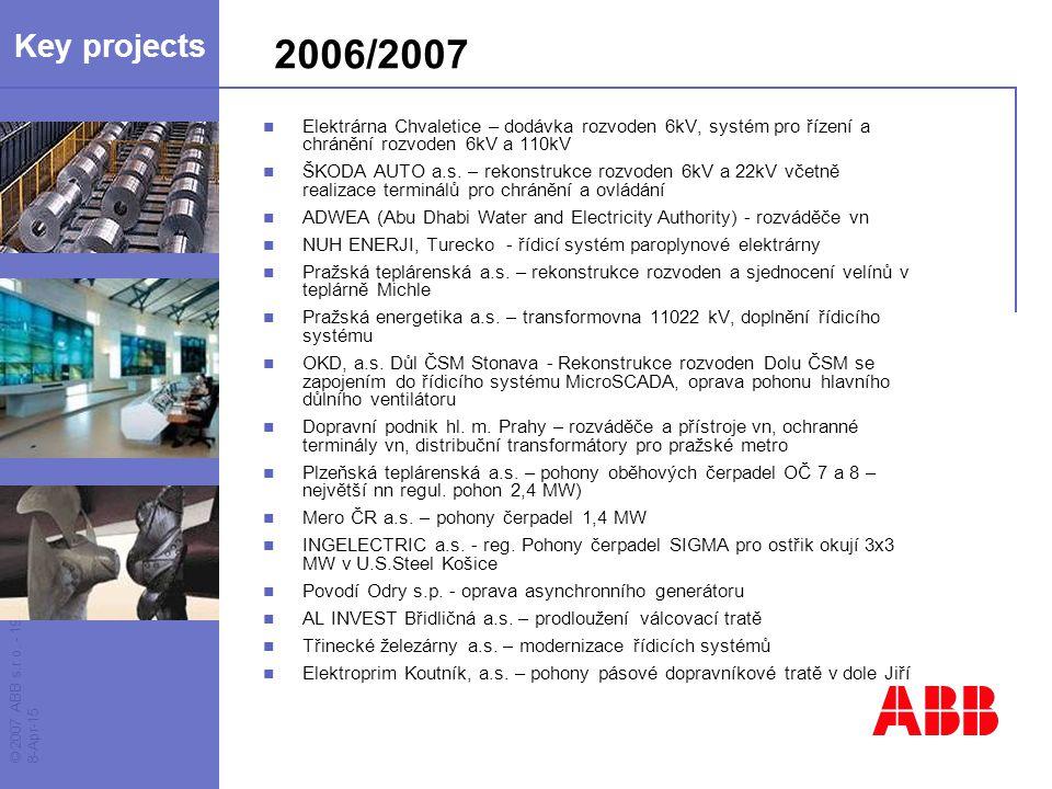 © 2007 ABB s.r.o. - 19 - 8-Apr-15 2006/2007 Elektrárna Chvaletice – dodávka rozvoden 6kV, systém pro řízení a chránění rozvoden 6kV a 110kV ŠKODA AUTO