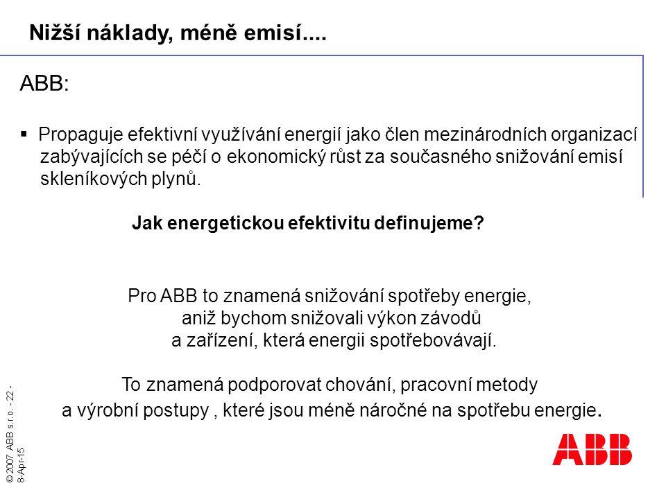 © 2007 ABB s.r.o. - 22 - 8-Apr-15 ABB:  Propaguje efektivní využívání energií jako člen mezinárodních organizací zabývajících se péčí o ekonomický rů