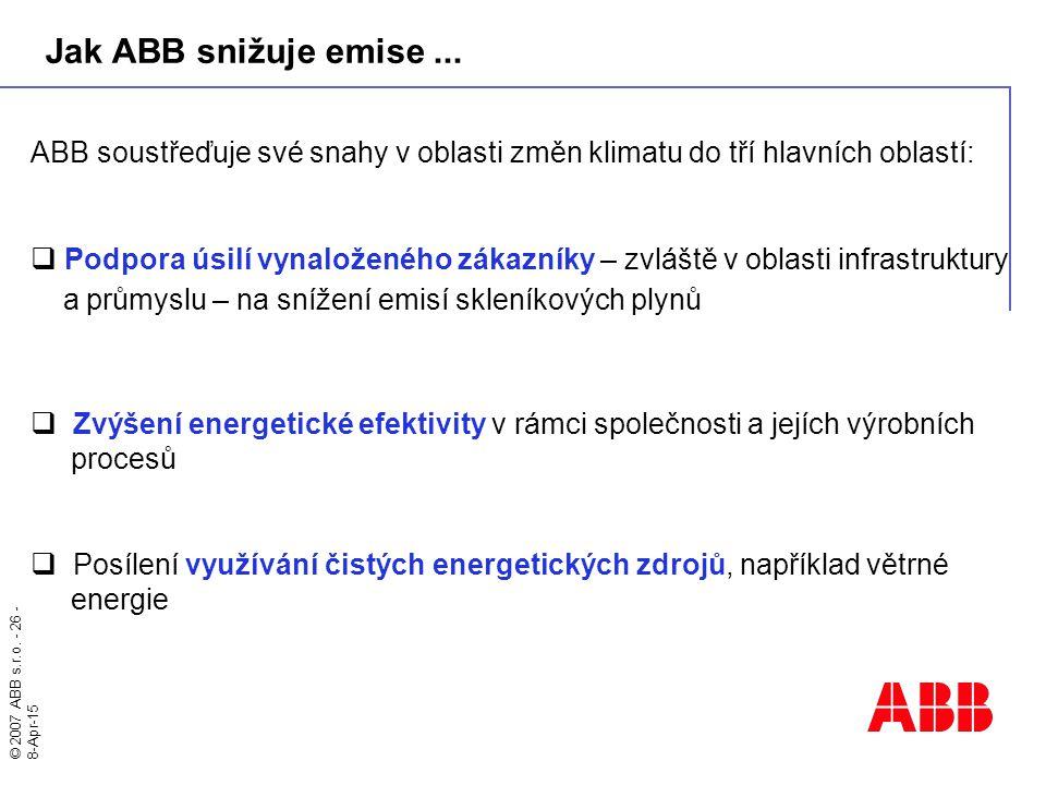 © 2007 ABB s.r.o. - 26 - 8-Apr-15 ABB soustřeďuje své snahy v oblasti změn klimatu do tří hlavních oblastí:  Podpora úsilí vynaloženého zákazníky – z