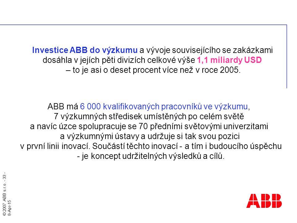 © 2007 ABB s.r.o. - 33 - 8-Apr-15 Investice ABB do výzkumu a vývoje souvisejícího se zakázkami dosáhla v jejích pěti divizích celkové výše 1,1 miliard