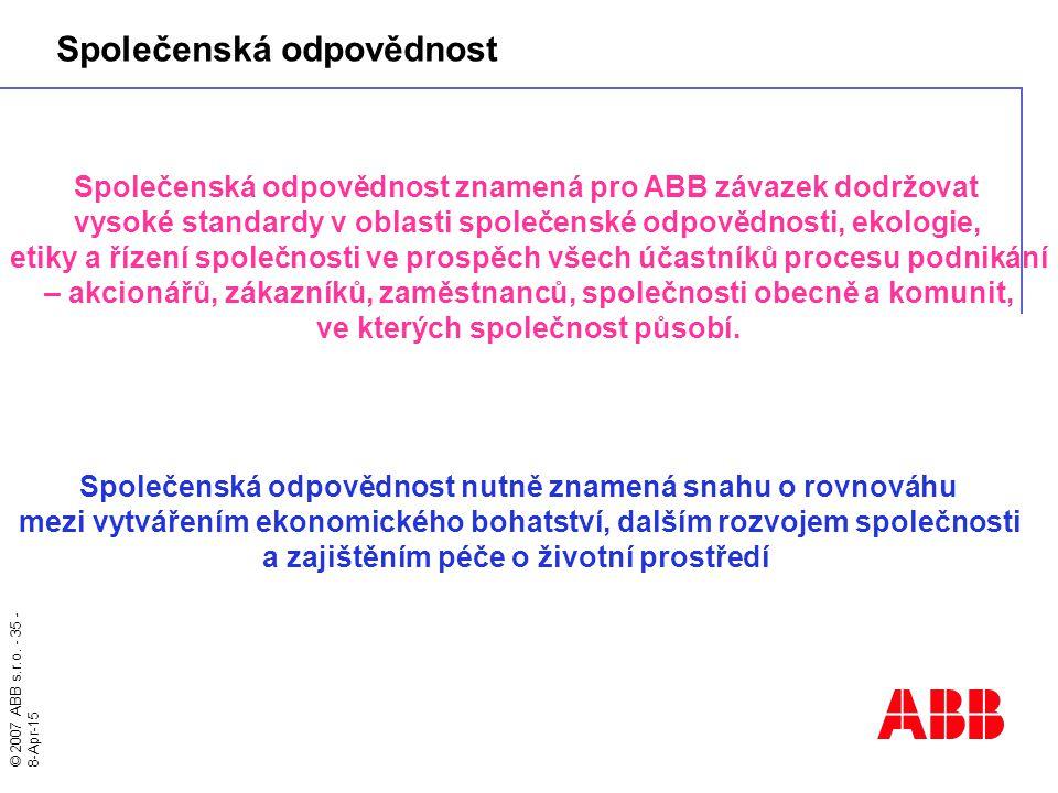 © 2007 ABB s.r.o. - 35 - 8-Apr-15 Společenská odpovědnost znamená pro ABB závazek dodržovat vysoké standardy v oblasti společenské odpovědnosti, ekolo