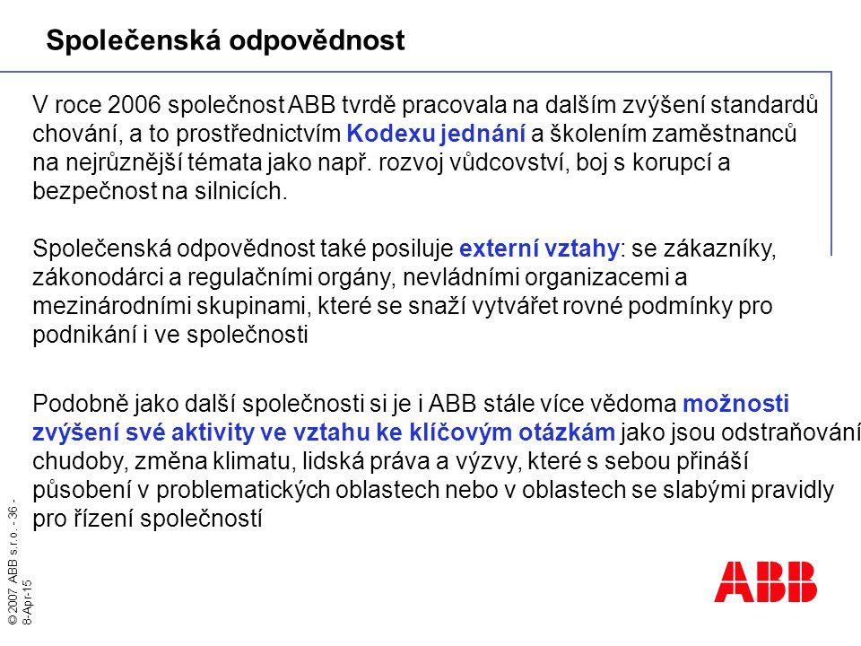 © 2007 ABB s.r.o. - 36 - 8-Apr-15 V roce 2006 společnost ABB tvrdě pracovala na dalším zvýšení standardů chování, a to prostřednictvím Kodexu jednání