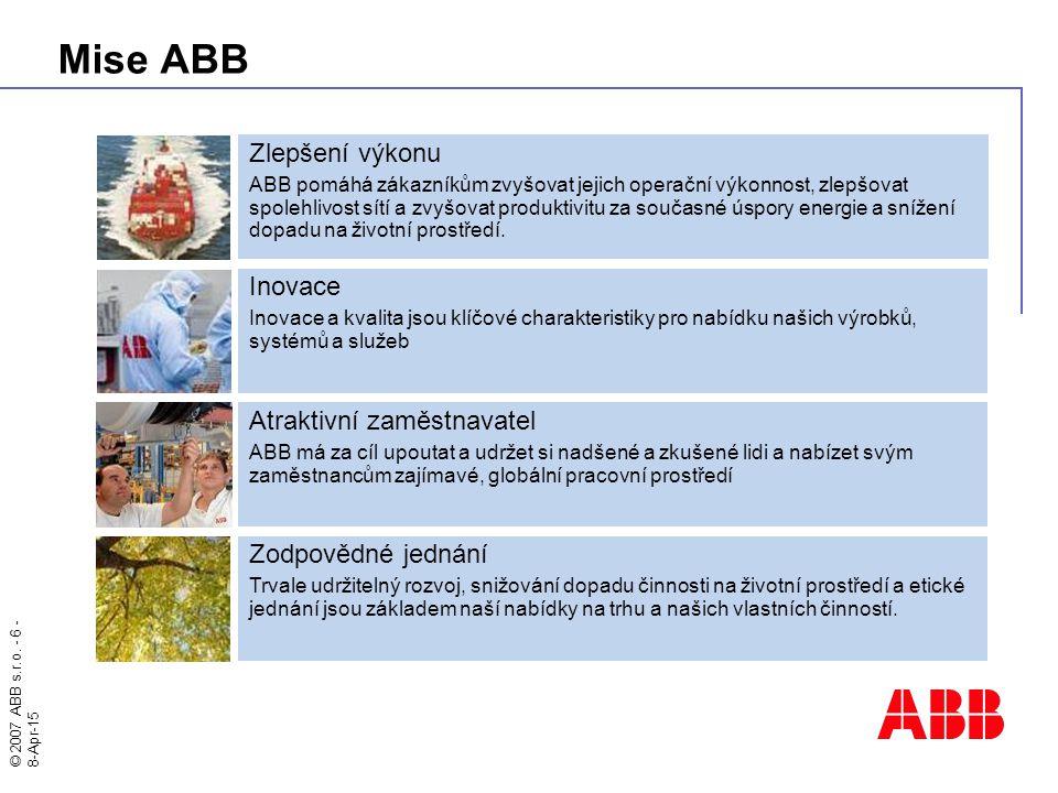 © 2007 ABB s.r.o. - 6 - 8-Apr-15 Mise ABB Zodpovědné jednání Trvale udržitelný rozvoj, snižování dopadu činnosti na životní prostředí a etické jednání