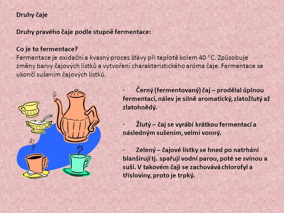 Druhy čaje Druhy pravého čaje podle stupně fermentace: Co je to fermentace? Fermentace je oxidační a kvasný proces šťávy při teplotě kolem 40 °C. Způs