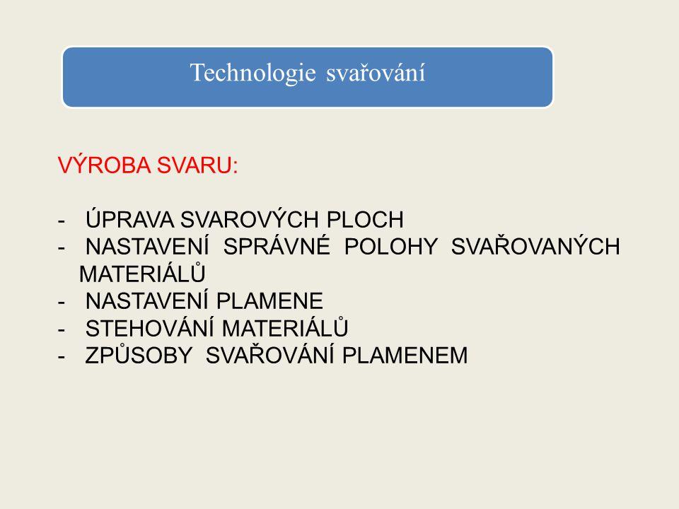 Úprava svarových ploch Svarové plochy upravujeme podle platné normy ČSN.