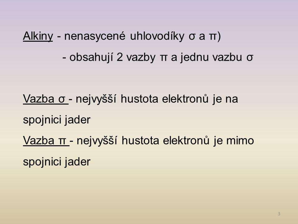 3 Alkiny - nenasycené uhlovodíky σ a π) - obsahují 2 vazby π a jednu vazbu σ Vazba σ - nejvyšší hustota elektronů je na spojnici jader Vazba π - nejvy