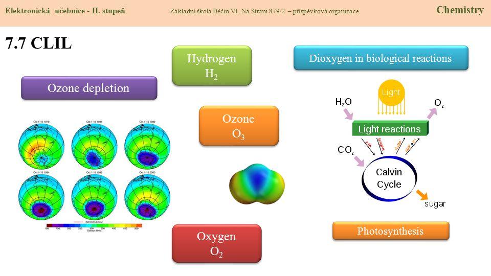 7.7 CLIL Elektronická učebnice - II. stupeň Základní škola Děčín VI, Na Stráni 879/2 – příspěvková organizace Chemistry Ozone depletion Dioxygen in bi