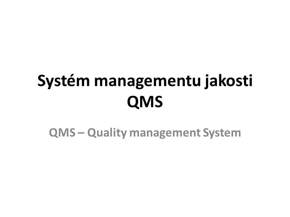 Systém managementu jakosti QMS QMS – Quality management System