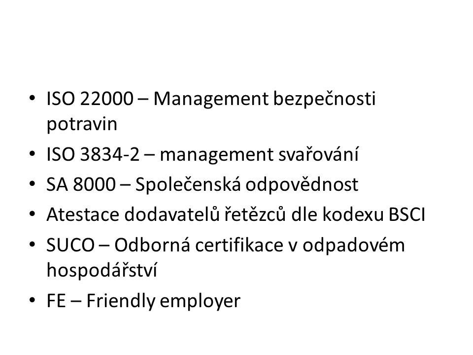 ISO 22000 – Management bezpečnosti potravin ISO 3834-2 – management svařování SA 8000 – Společenská odpovědnost Atestace dodavatelů řetězců dle kodexu