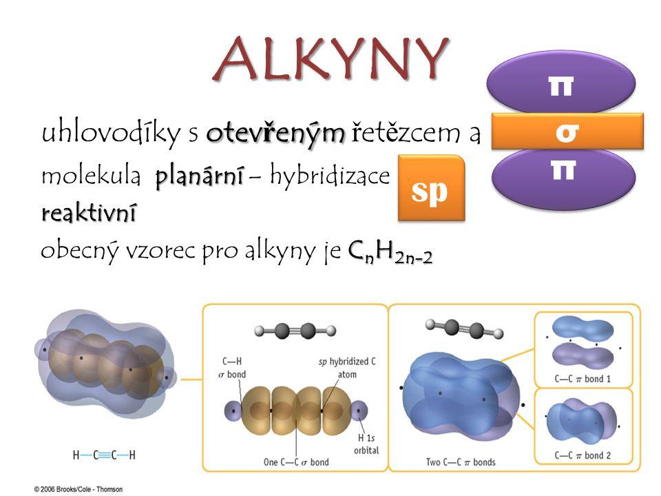 ALKYNY otev ř eným ≡ uhlovodíky s otev ř eným ř et ě zcem a ≡ planární molekula planární – hybridizace ……reaktivní C n H 2n-2 obecný vzorec pro alkyny