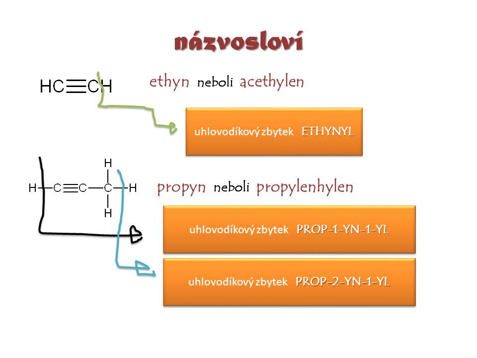 názvosloví ethyn neboli acethylen propyn neboli propylenhylen ETHYNYL uhlovodíkový zbytek ETHYNYL PROP-1-YN-1-YL uhlovodíkový zbytek PROP-1-YN-1-YL PR