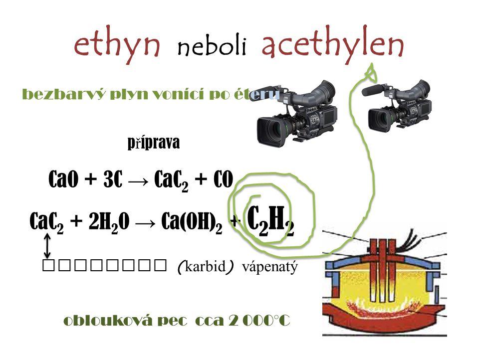 ethyn neboli acethylen bezbarvý plyn vonící po éteru CaO + 3C → CaC 2 + CO CaC 2 + 2H 2 O → Ca(OH) 2 + C 2 H 2 p ř íprava oblouková pec cca 2 000°C ac