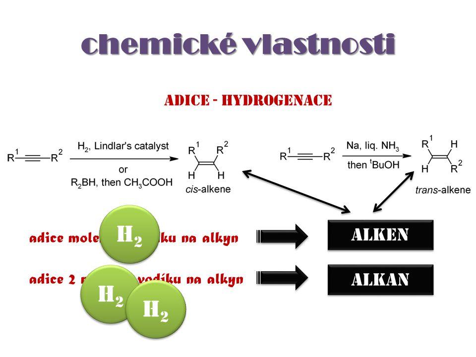 chemické vlastnosti Adice - hydrogenace adice molekuly vodíku na alkyn adice 2 molekul vodíku na alkyn ALKEN ALKAN H2H2 H2H2 H2H2 H2H2 H2H2 H2H2