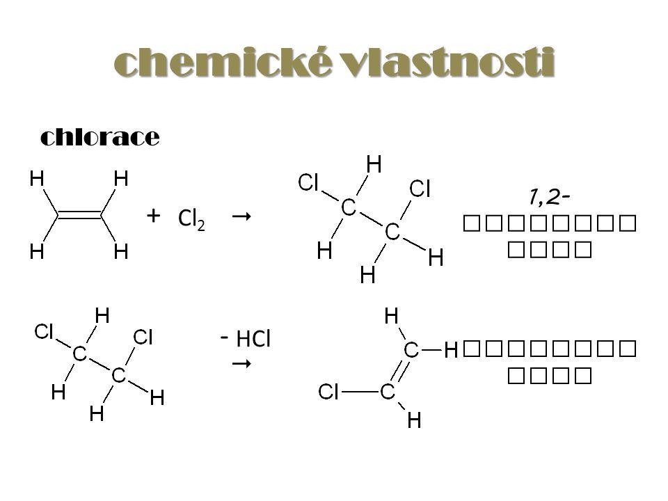 chemické vlastnosti chlorace Cl 2 +  1,2- dichlore than - HCl  vinylchl orid