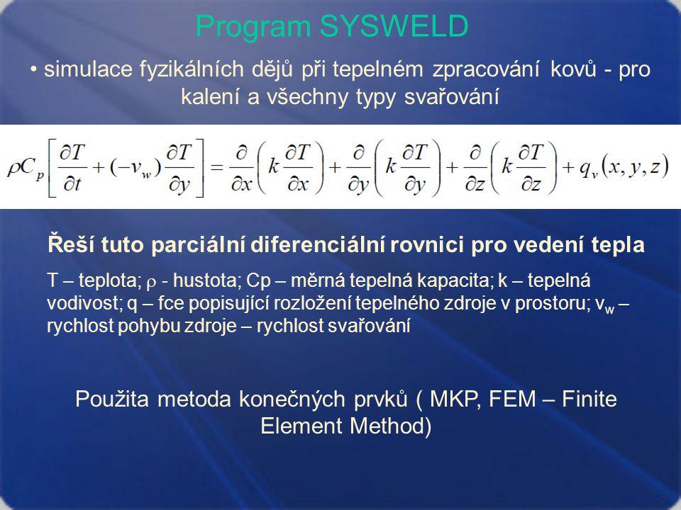 Program SYSWELD simulace fyzikálních dějů při tepelném zpracování kovů - pro kalení a všechny typy svařování Řeší tuto parciální diferenciální rovnici