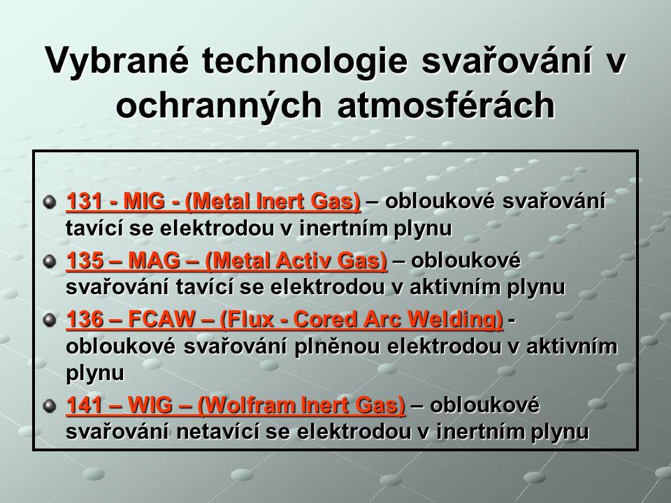 Vybrané technologie svařování v ochranných atmosférách 131 - MIG - (Metal Inert Gas) – obloukové svařování tavící se elektrodou v inertním plynu 135 –