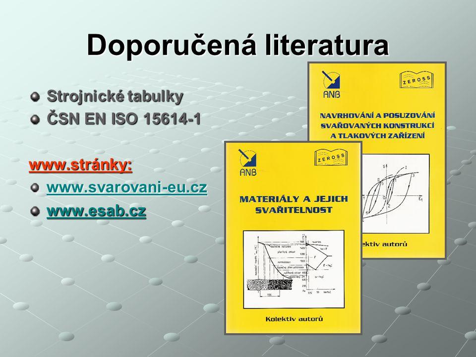 Doporučená literatura Strojnické tabulky ČSN EN ISO 15614-1 www.stránky: www.svarovani-eu.cz www.esab.cz