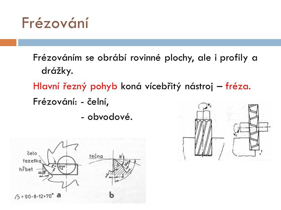 Frézování Frézováním se obrábí rovinné plochy, ale i profily a drážky. Hlavní řezný pohyb koná vícebřitý nástroj – fréza. Frézování: - čelní, - obvodo
