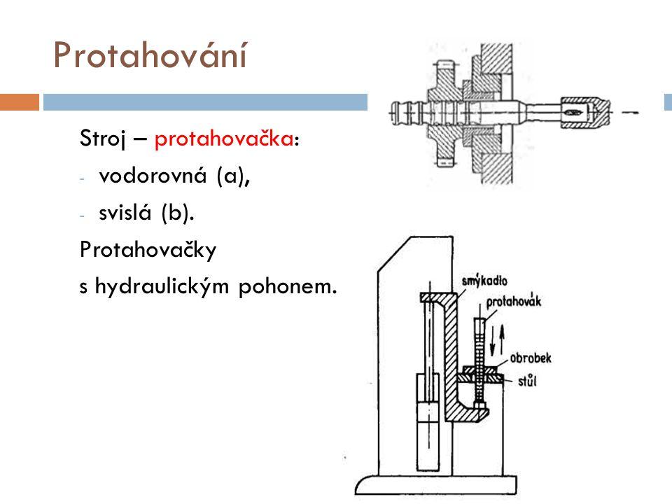 Protahování Stroj – protahovačka: - vodorovná (a), - svislá (b). Protahovačky s hydraulickým pohonem.