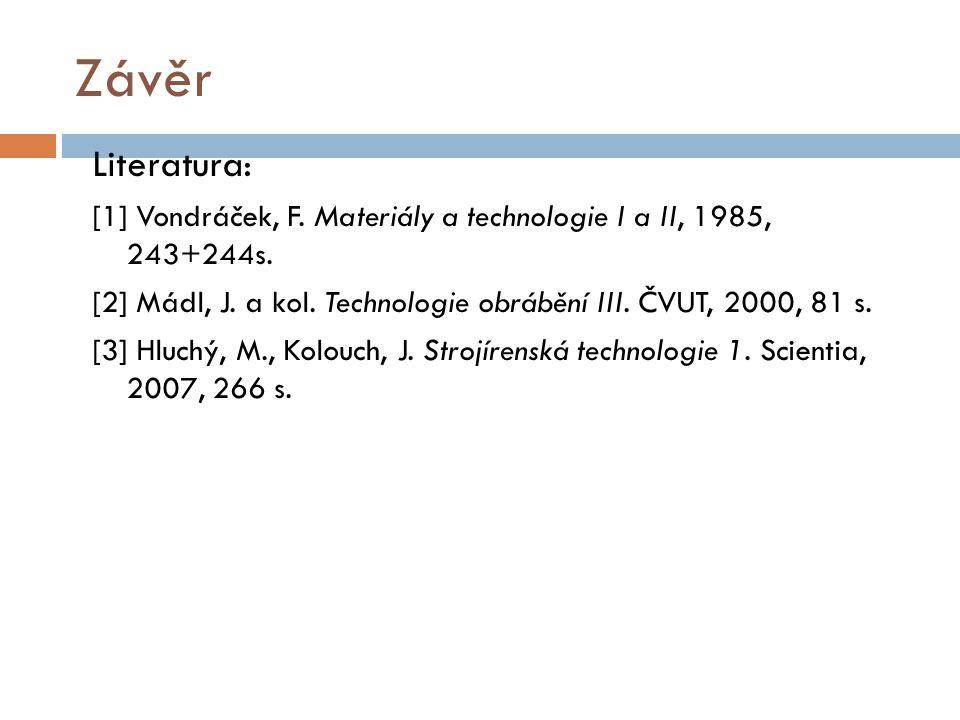 Závěr Literatura: [1] Vondráček, F. Materiály a technologie I a II, 1985, 243+244s. [2] Mádl, J. a kol. Technologie obrábění III. ČVUT, 2000, 81 s. [3