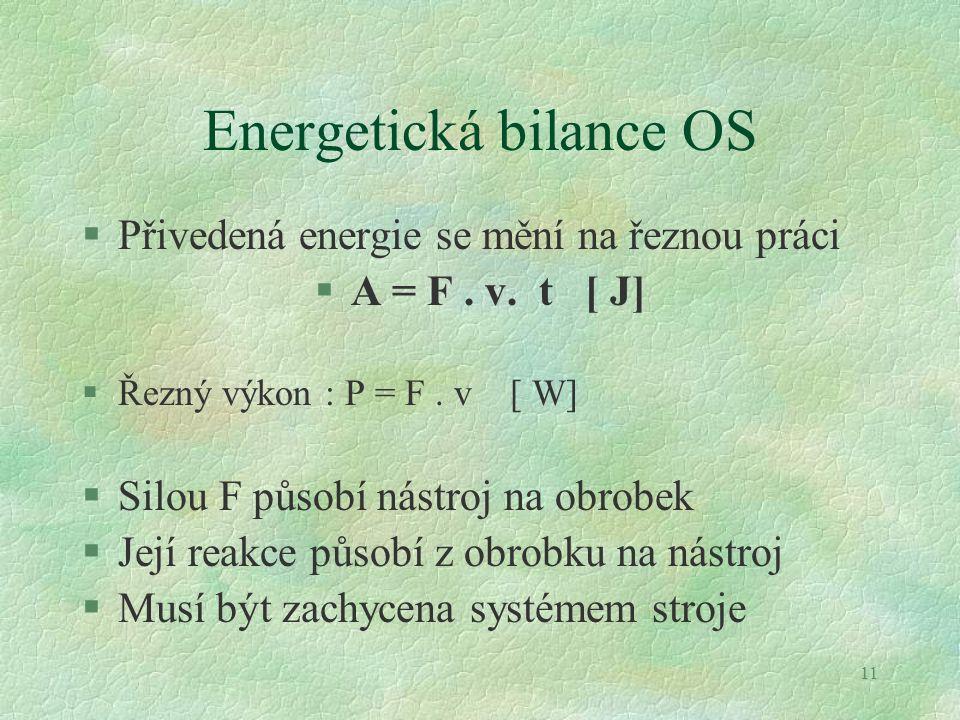 11 Energetická bilance OS §Přivedená energie se mění na řeznou práci §A = F. v. t [ J] §Řezný výkon : P = F. v [ W] §Silou F působí nástroj na obrobek