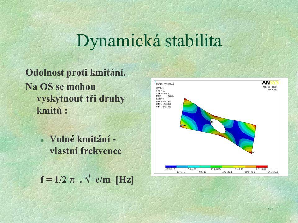 36 Dynamická stabilita Odolnost proti kmitání. Na OS se mohou vyskytnout tři druhy kmitů : l Volné kmitání - vlastní frekvence f = 1/2 .  c/m [Hz]