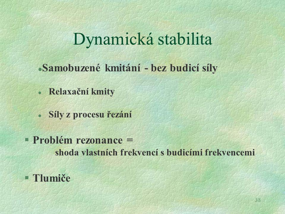 38 Dynamická stabilita l Samobuzené kmitání - bez budicí síly l Relaxační kmity l Síly z procesu řezání §Problém rezonance = shoda vlastních frekvencí