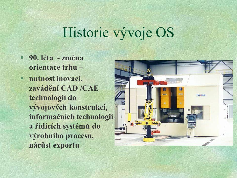 5 Historie vývoje OS §90. léta - změna orientace trhu – §nutnost inovací, zavádění CAD /CAE technologií do vývojových konstrukcí, informačních technol