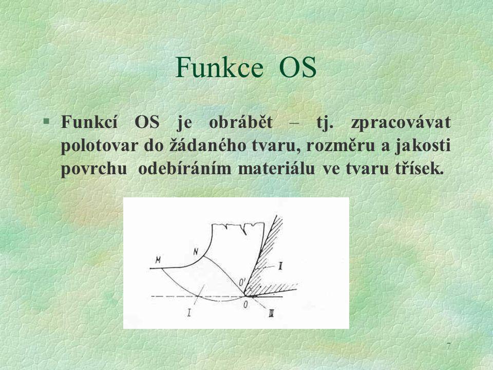 7 Funkce OS §Funkcí OS je obrábět – tj. zpracovávat polotovar do žádaného tvaru, rozměru a jakosti povrchu odebíráním materiálu ve tvaru třísek.