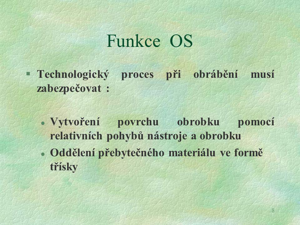 8 Funkce OS §Technologický proces při obrábění musí zabezpečovat : l Vytvoření povrchu obrobku pomocí relativních pohybů nástroje a obrobku l Oddělení