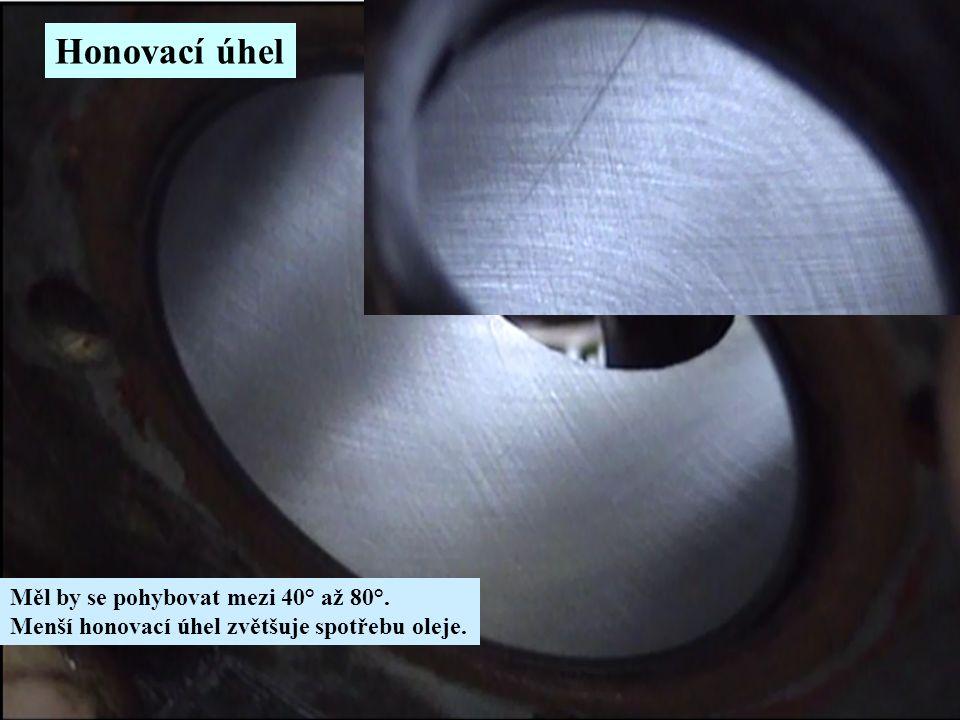 Honovací úhel Měl by se pohybovat mezi 40° až 80°. Menší honovací úhel zvětšuje spotřebu oleje.