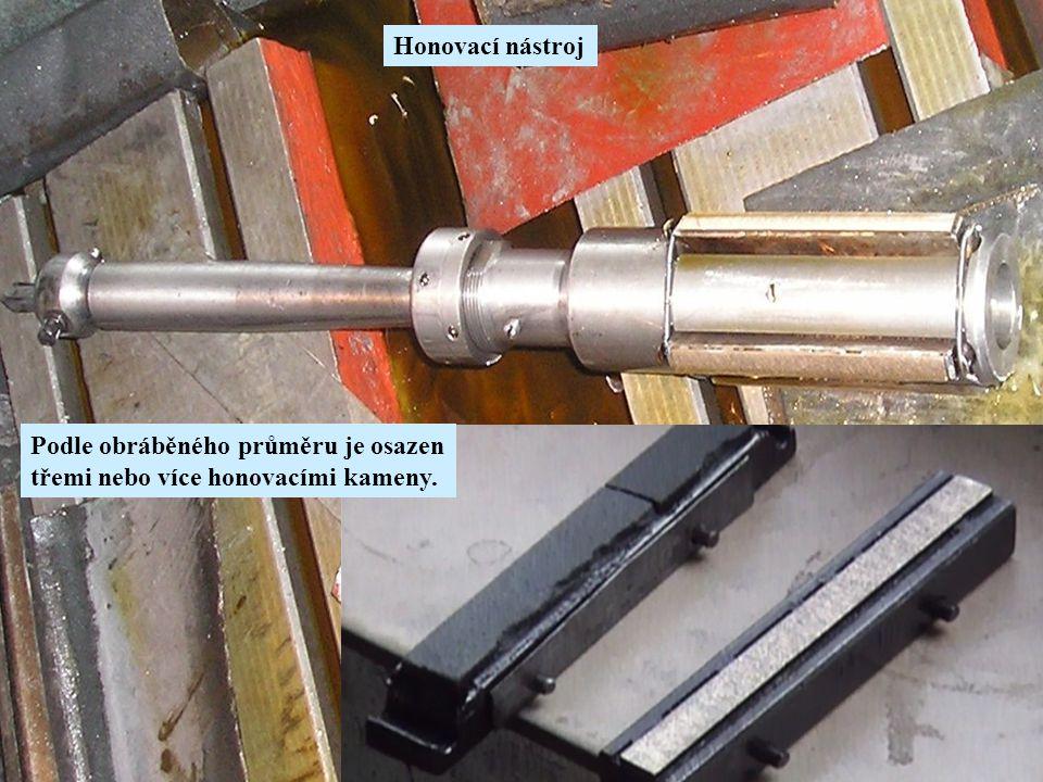 Honovací nástroj Podle obráběného průměru je osazen třemi nebo více honovacími kameny.