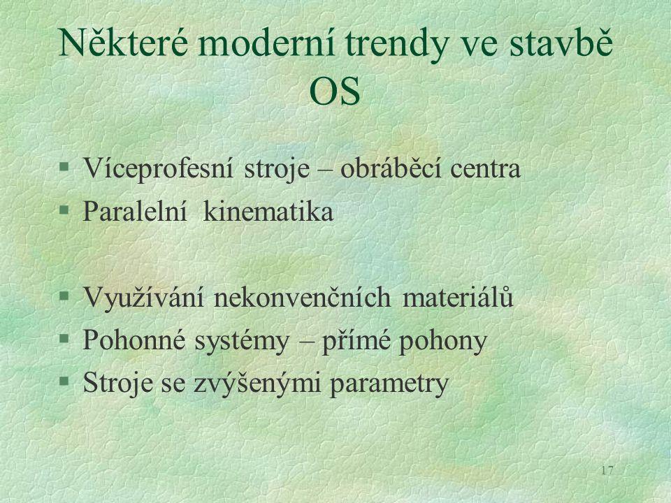 17 Některé moderní trendy ve stavbě OS §Víceprofesní stroje – obráběcí centra §Paralelní kinematika §Využívání nekonvenčních materiálů §Pohonné systém
