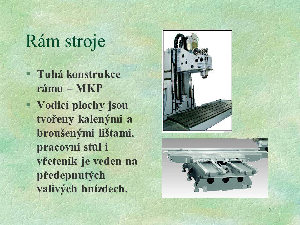 21 Rám stroje §Tuhá konstrukce rámu – MKP §Vodicí plochy jsou tvořeny kalenými a broušenými lištami, pracovní stůl i vřeteník je veden na předepnutých