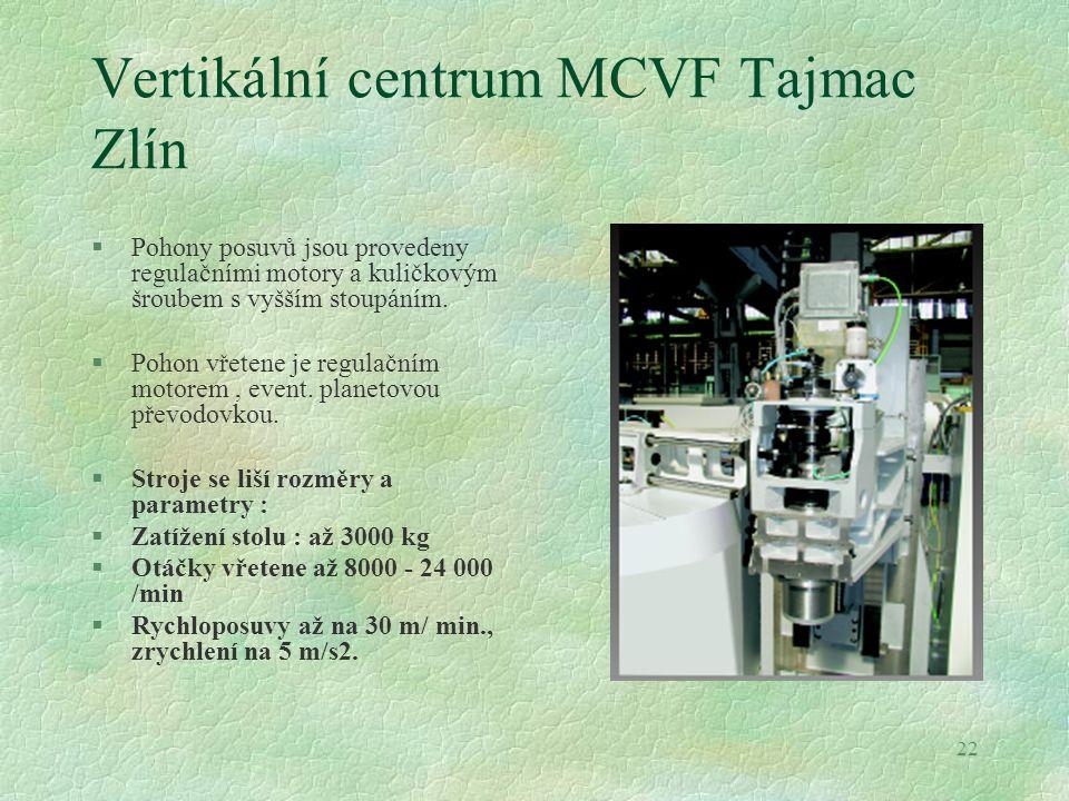 22 Vertikální centrum MCVF Tajmac Zlín §Pohony posuvů jsou provedeny regulačními motory a kuličkovým šroubem s vyšším stoupáním. §Pohon vřetene je reg