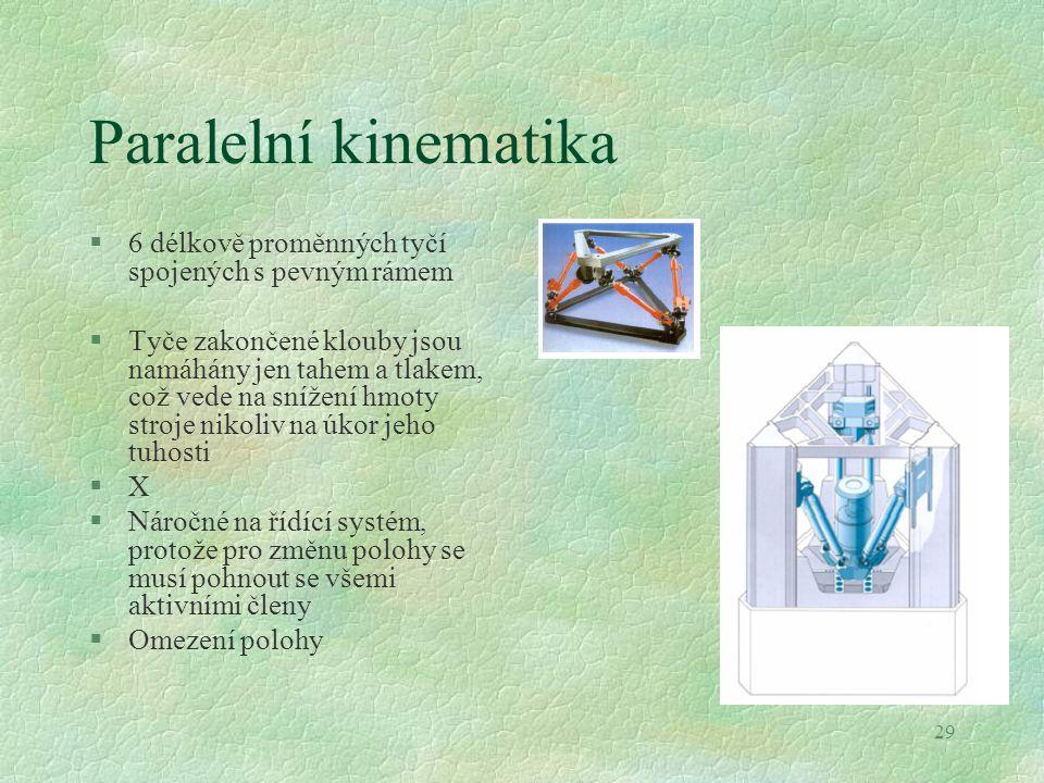 29 Paralelní kinematika §6 délkově proměnných tyčí spojených s pevným rámem §Tyče zakončené klouby jsou namáhány jen tahem a tlakem, což vede na sníže