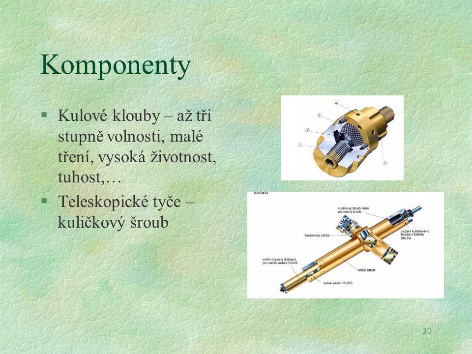 30 Komponenty §Kulové klouby – až tři stupně volnosti, malé tření, vysoká životnost, tuhost,… §Teleskopické tyče – kuličkový šroub