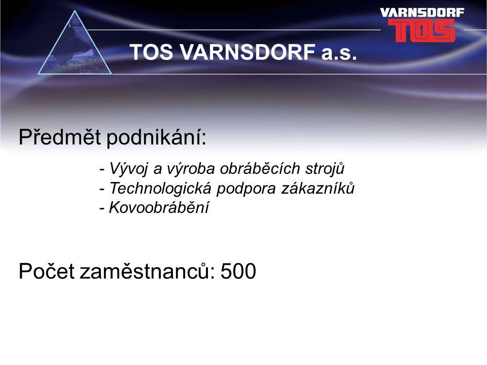 - Vývoj a výroba obráběcích strojů - Technologická podpora zákazníků - Kovoobrábění Předmět podnikání: Počet zaměstnanců: 500