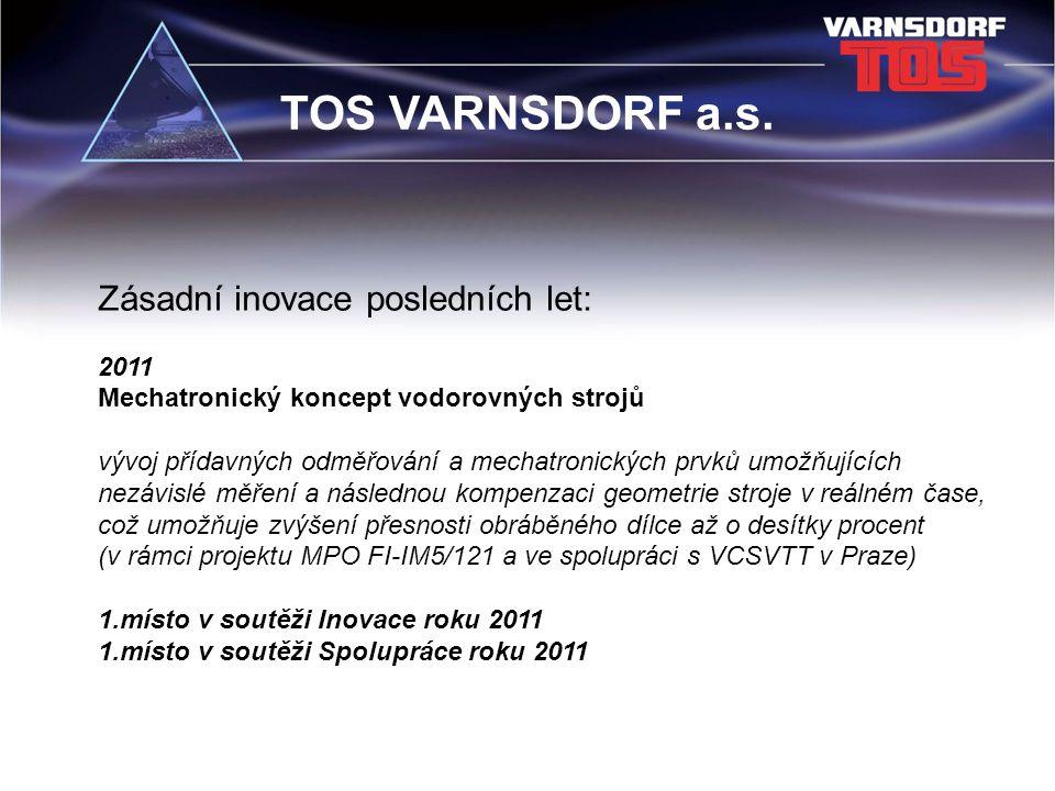 TOS VARNSDORF a.s. Zásadní inovace posledních let: 2011 Mechatronický koncept vodorovných strojů vývoj přídavných odměřování a mechatronických prvků u