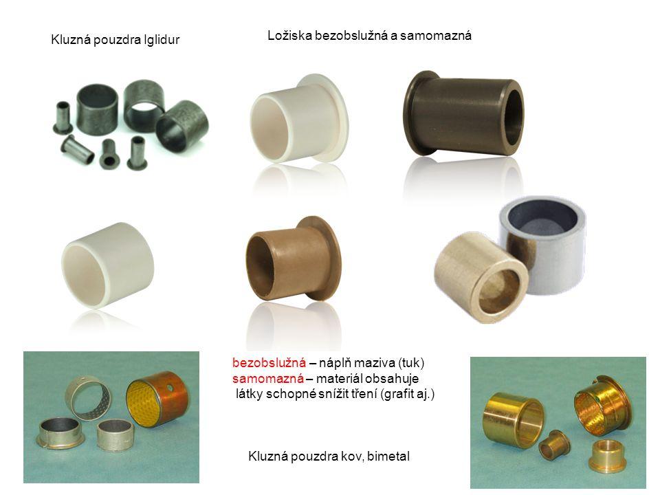 Samomazná ložisková pouzdra Materiály bronz hliník polyacethalharz (POM-H) polyoxymethylen (POM-C) polyamid, -in (PA, PAI) teflon (PTFE) polyetheretherketon (PEEK) aj.